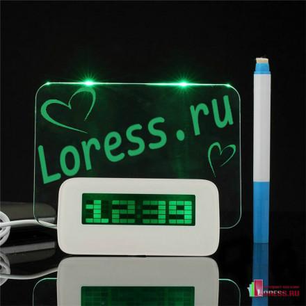 Светящиеся часы будильник с доской для записи