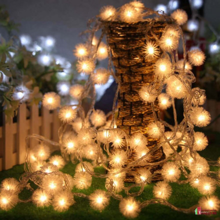 """Светодиодная гирлянда """"Снежок"""" электрическая (10 метров, 100 LED)"""