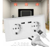 Розетка электрическая с 2 USB портами и заземлением